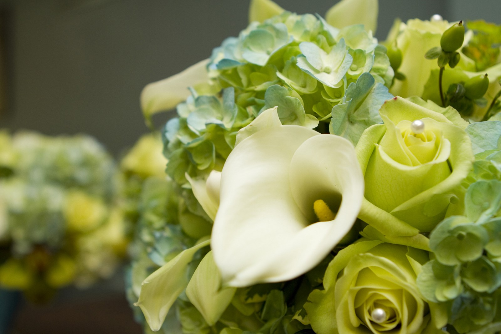 Roses, wedding, Hydrangea, Hypericum Berry - Wedding Bouquet