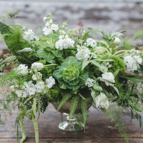 Kale, Amaranthus, Veronica, Stock, Plumosa, Aspidistra, Australian Fern, Tulips in White and Green