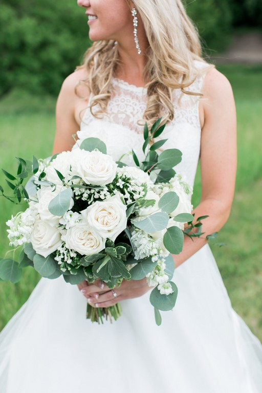 Wedding Bouquet of White and Greens. Roses, Bouvardia, Stock