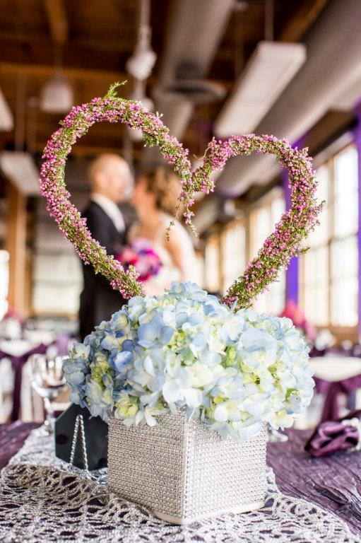 Jewel toned textured wedding with Hydrangeas, Heather Heart Shaped Design