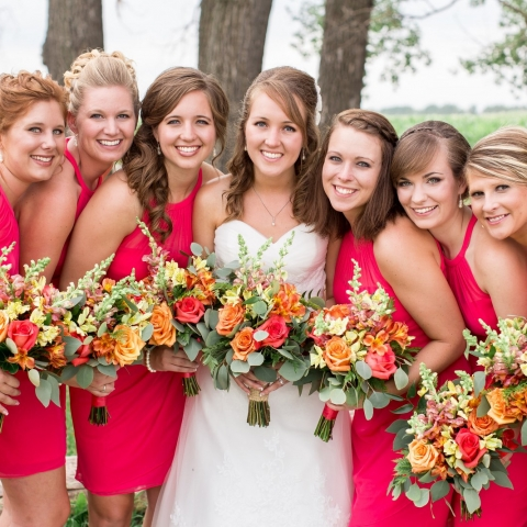 Coral Roses, Alstroemeria, Seeded Eucalyptus, Snapdragons Colorful Wedding Bouquets